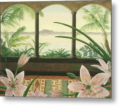 Metal Print featuring the painting Lilies In Paradise by Cathy Cleveland