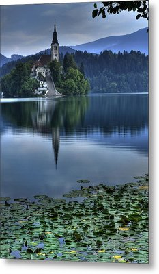 Lily Pads At Lake Bled Metal Print
