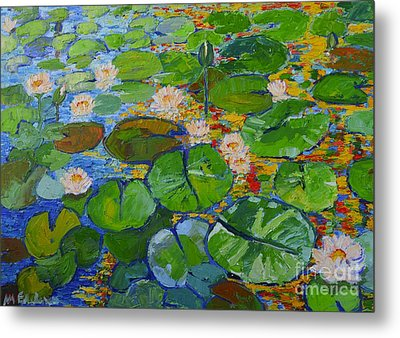 Lily Pond Reflections Metal Print by Ana Maria Edulescu