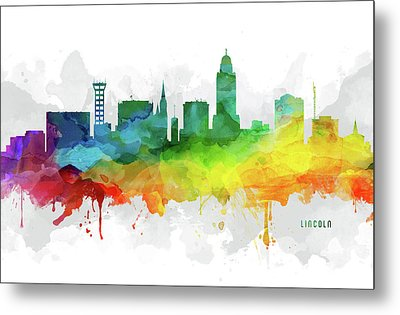 Lincoln Skyline Mmr-usneli05 Metal Print