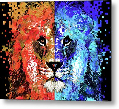Metal Print featuring the painting Lion Art - Majesty - Sharon Cummings by Sharon Cummings