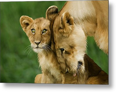 Lion Cub With Mother Metal Print