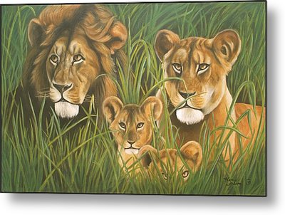 Lion Family Metal Print by Henry  Frison