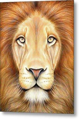 Lion Head In Color Metal Print by Greg Joens