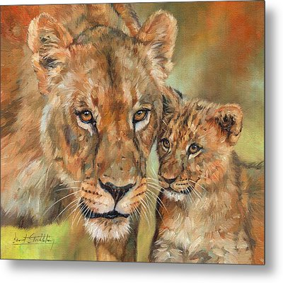 Metal Print featuring the painting Lioness And Cub by David Stribbling
