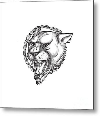 Lioness Growling Rope Circle Tattoo Metal Print by Aloysius Patrimonio