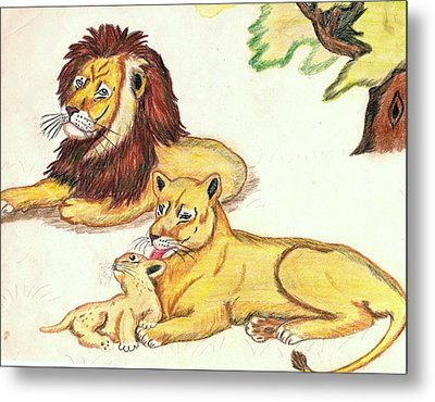 Lions Of The Tree Metal Print