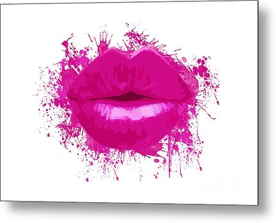Lips - Light Pink Watercolour  Metal Print