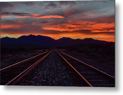 Liquid Copper Flowing Into The Night Metal Print