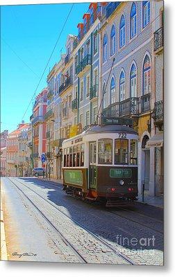 Lisbon Trams Metal Print by Carey Chen