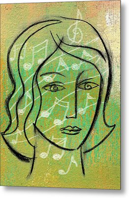 Listening To Music Metal Print