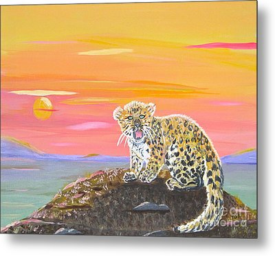 Metal Print featuring the painting Little Leopard by Phyllis Kaltenbach