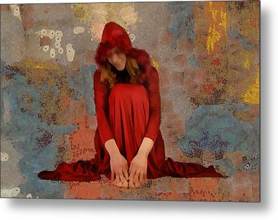 Metal Print featuring the mixed media Little Mel Riding Hood by Trish Tritz