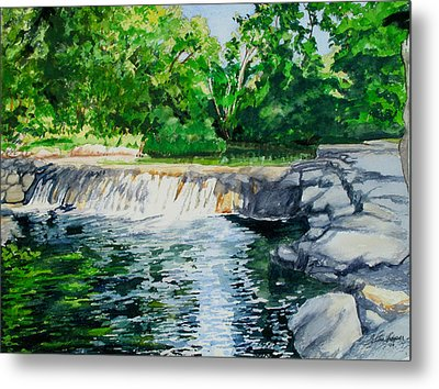 Little Niagra Falls On Travertine Creek Chickasaw National Recreation Area Sulphur Oklahoma Metal Print by Wes Loper