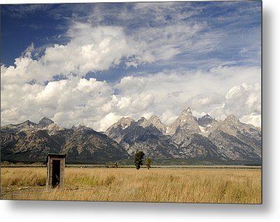 Little Outhouse On The Prairie Metal Print by Geraldine Alexander