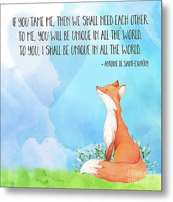 Little Prince Fox Quote, Text Art Metal Print by Tina Lavoie