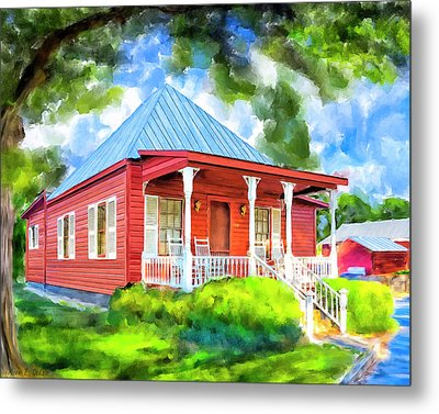 Metal Print featuring the mixed media Little Red Cottage by Mark Tisdale