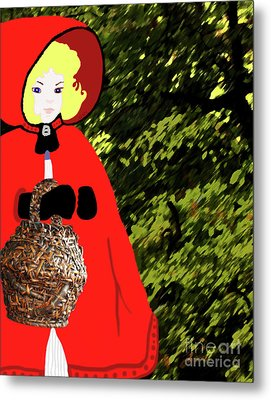 Little Red Riding Hood In The Forest Metal Print by Marian Cates