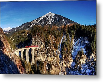 Metal Print featuring the photograph Little Red Train In The Swiss Alps by Peter Thoeny