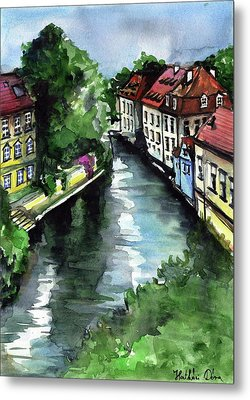 Little Venice In Prague Certovka Canal Metal Print