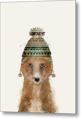 Little Winter Fox Metal Print by Bri B