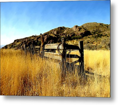 Livery Fence At Dripping Springs Metal Print by Kurt Van Wagner