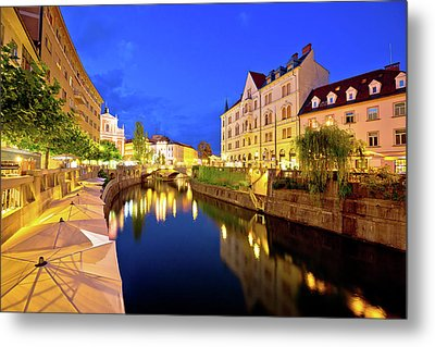 Ljubljanica River Waterfront In Ljubljana Evening View Metal Print
