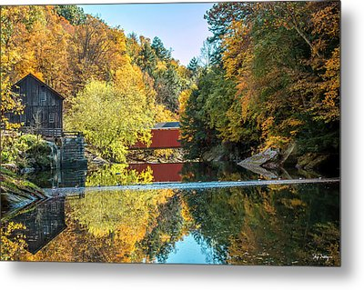 Mcconnell's Mill And Covered Bridge Metal Print by Skip Tribby