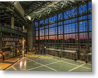 Metal Print featuring the photograph Lambeau Field Atrium Sunset by Joel Witmeyer