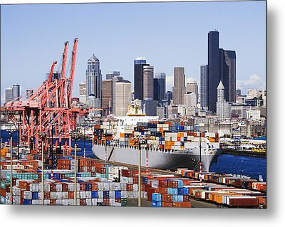 Loaded Container Ship In Seattle Harbor Metal Print by Jeremy Woodhouse