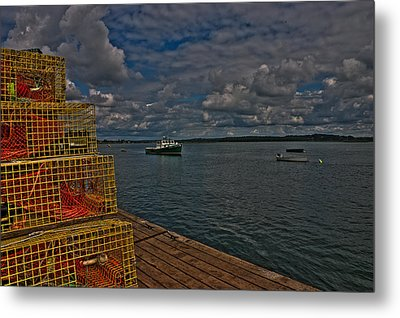 Lobster Traps On The Dock Metal Print by David Bishop