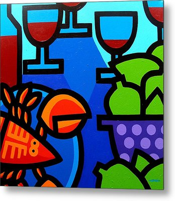 Lobster Wine And Limes Metal Print by John  Nolan