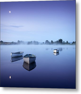 Loch Rusky Moonlit Morning Metal Print by David Mould