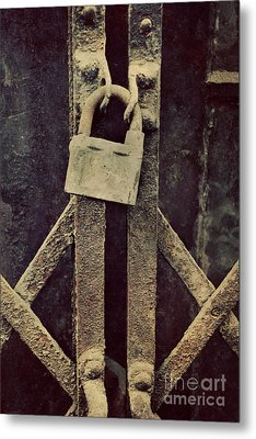 Locked Rusty Door Metal Print by Mythja Photography