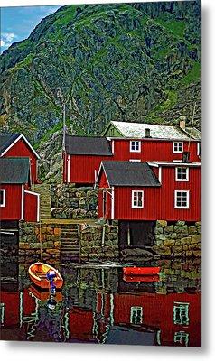 Lofoten Fishing Huts Metal Print by Steve Harrington