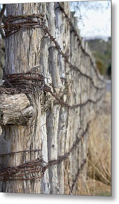 Metal Print featuring the photograph Log And Wire Fence by Phyllis Denton