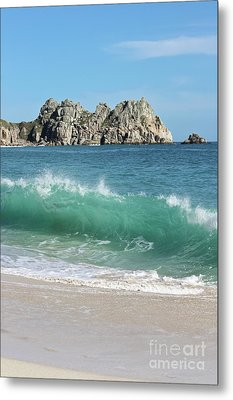 Metal Print featuring the photograph Logan Rock Porthcurno Cornwall by Terri Waters