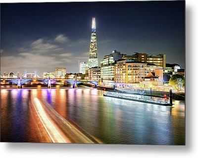 London At Night With Urban Architecture, Amazing Skyscraper And Boat At Thames River, United Kingdom Metal Print