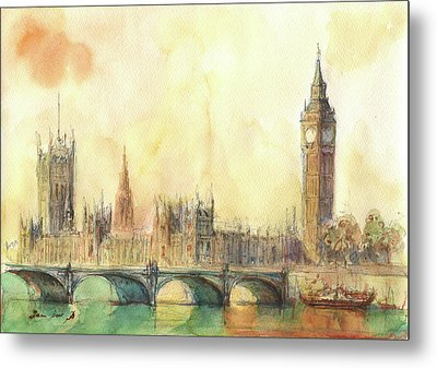 London Big Ben And Thames River Metal Print by Juan Bosco