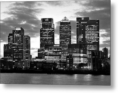 London Canary Wharf Monochrome Metal Print by Marek Stepan