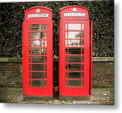 London Red Phone Booths Metal Print by Sonja Quintero