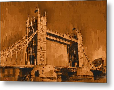 London Tower Bridge Sepia - Da Metal Print by Leonardo Digenio