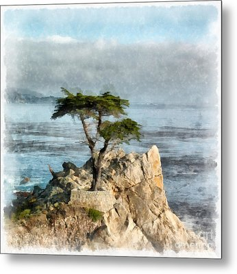 Lone Cypress Watercolor Metal Print