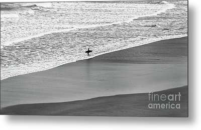 Metal Print featuring the photograph Lone Surfer by Nicholas Burningham