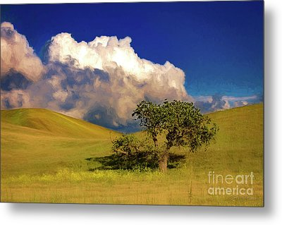 Lone Tree With Storm Clouds Metal Print