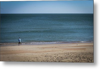 Lonely Fisherman Metal Print