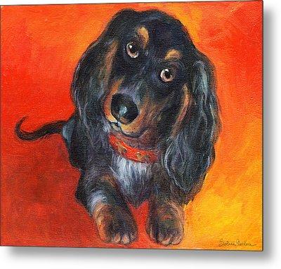 Long Haired Dachshund Dog Puppy Portrait Painting Metal Print by Svetlana Novikova