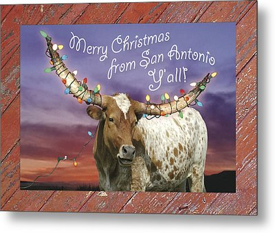 Longhorn Christmas Card From San Antonio Metal Print by Robert Anschutz