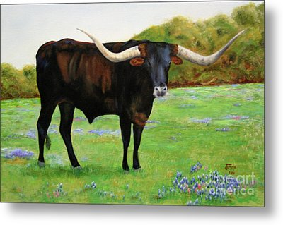 Metal Print featuring the painting Longhorn In Bluebonnets by Jimmie Bartlett