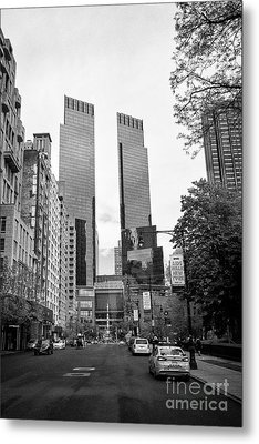 looking along central park south towards columbus circle and the time warner center New York City US Metal Print